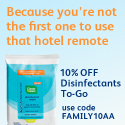 Because you're not the first person to use that hotel remote...10% off Disinfectants To-Go! Code FAMILY10AA