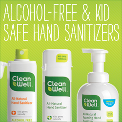 Alcohol-free and kid-safe hand sanitizers from CleanWell!