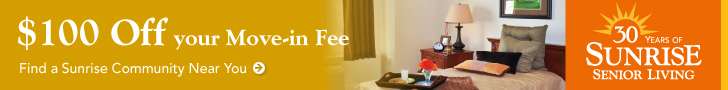 get $100.00 off you move-in fee at Sunrise Senior Living.