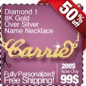 18K Gold Over Sterling Silver Name Necklace with Diamond - Professional Setting!