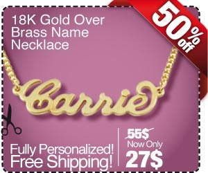 18K Gold Plated Brass Carrie Name Necklace