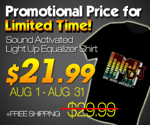 Light-up T-Shirt LED T-Shirt Dance Glow in the dark OEM Personalize Sound Activated Gadgets T-Shirt Gizmos