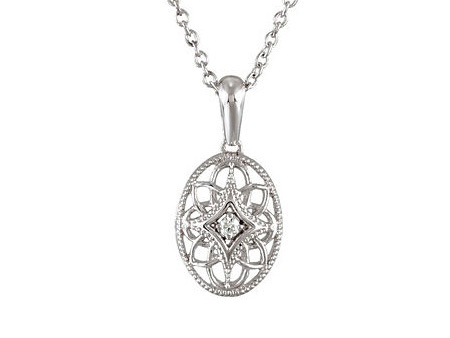 Win this Vintage Style Oval Diamond Pendant Necklace Sterling Silver