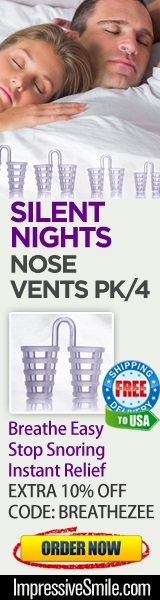 Save $15.40 on Silent Nights - Nose Vents PK/4 Stop Snoring Solution – Instant Relief. For limited time - Use code: BREATHEZEE for additional 10% off