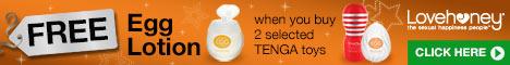 Free TENGA Egg Lotion when you buy two selected TENGA toys