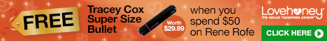 Free Tracey Cox Super Size Bullet Vibrator worth $29.99 when you spend $50 on Rene Rofe Lingerie