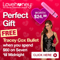 Free Tracey Cox Bullet Vibe worth $24.99 when you spend $60 on Seven 'til Midnight lingerie
