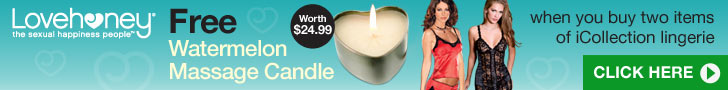 Free Swoon Burning Desire Massage Candle worth $24.99 when you buy any two items of iCollection lingerie