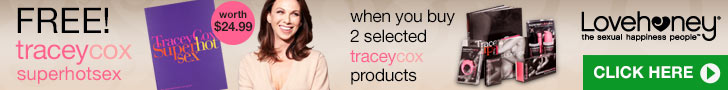 Free copy of Tracey's fabulous book Superhotsex worth $24.99 when you buy two selected Tracey products