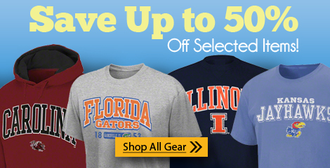 SAVE 50% on selected college & pro gear