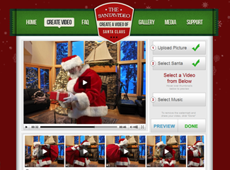 Screenshot of TheSantaVideo.com Video Creation