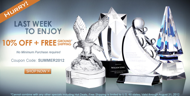 10% off + Free Shipping crystal awards and gifts