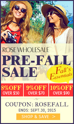 "Rosewholesale Pre-Fall Sale: Extra 8% OFF 50+, 9% OFF $70+, 10% OFF $90+ for All Fashion Items with Coupon ""ROSEFALL"""