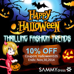 "Happy Halloween! Enjoy 10% OFF for All with Coupon ""Halloween10S"". Get Thrilling Fashion Trends at sammydress.com! (Ends: Nov,30,2014)"