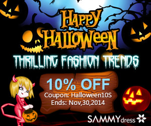 """Happy Halloween! Enjoy 10% OFF for All with Coupon """"Halloween10S"""". Get Thrilling Fashion Trends at sammydress.com! (Ends: Nov,30,2014)"""