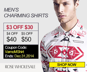 $3 OFF $30, $4 OFF $40, $5 OFF $50 for All Men's Shirts. Coupon Code: VamoMShirt. (Ends: Dec.31th)
