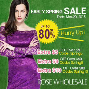 Spring Sale! Save Up to $10 Sitewide at Rosewholesale! (Ends: Mar.20, 2015)