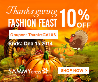 Thanksgiving Fashion Feast! Save 10% for ALL @sammydress with Coupon: ThanksGV10S. (Ends: Dec 15, 2014)