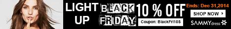 10% OFF Black Friday Coupon for ALL @sammydress.com: BlackFri10. (Ends: Dec 31,2014)