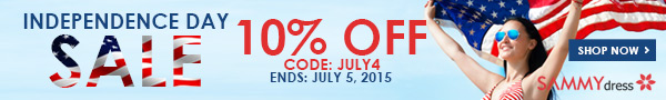 Independence Day Sale: 10% OFF Sitewide with Coupon: JULY4. (Ends: Jul.5, 2015)