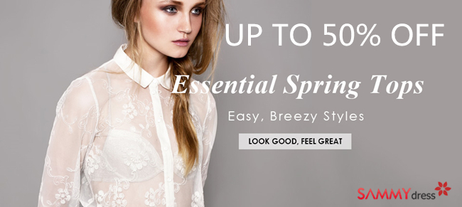 Up to 50% OFF: Essential Spring Tops @sammydress