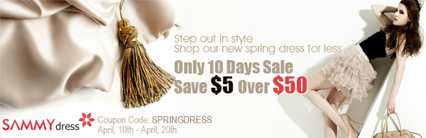 100+ New Spring Dresses to Choose, Buy Now and Catch Fashion 2012! $50-$5 Coupon Code: SPRINGDRESS.