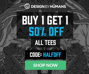 All t-shirts are buy 1 get 1 50% off with coupon code: HALFOFF.