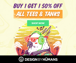 All tees and tanks are buy 1 get 1 50% off. Use coupon code: GOODVIBES.