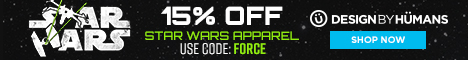 Save 15% off all star wars apparel with coupon code: FORCE.