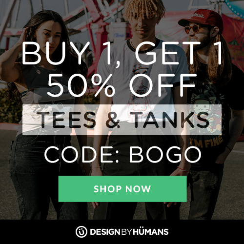 All tees & tanks are buy 1 get 1 50% off with coupon code: BOGO plus free worldwide shipping on apparel.