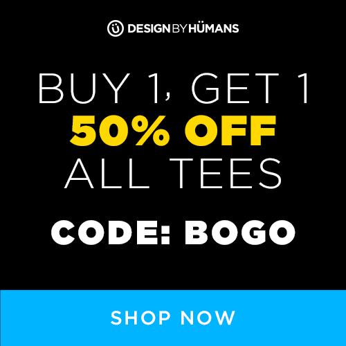 Buy 1 Get 1 50% off tees at DesignByHumans.com