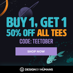 All tees are buy 1 get 1 50% off with coupon code: TEETOBER.