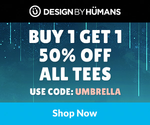 All tees are buy 1 get 1 50% off with coupon code: UMBRELLA.