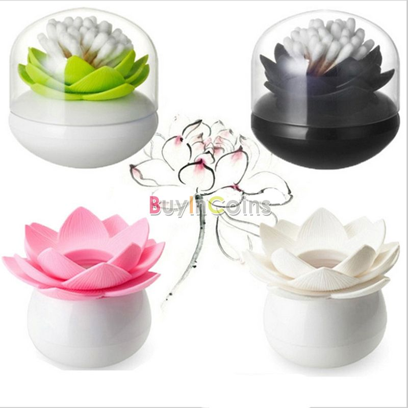 Colorful Durable Cotton Swab Toothpick Holder Case Bud Box Lotus Vase Decorating