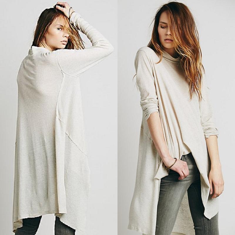 Women's Loose Long Sleeve Casual Tee Tops Fashion Sweater Knitwear High Collar