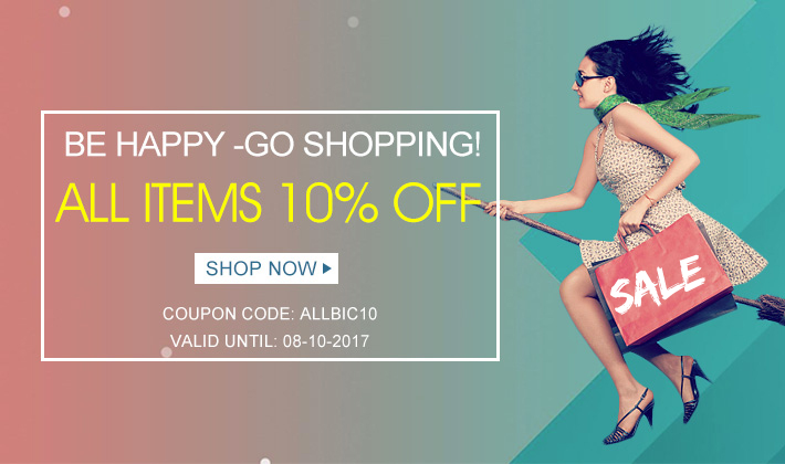 Be happy go shopping with All Items 10% off!  Use this great opportunity to buy your favorite items!  Join us! Happiness for a small amount of money is just a click away!