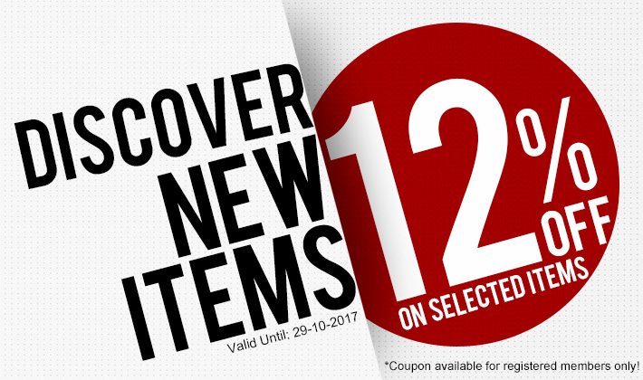 New arrival! Selected items with 12% off!  Don't miss!