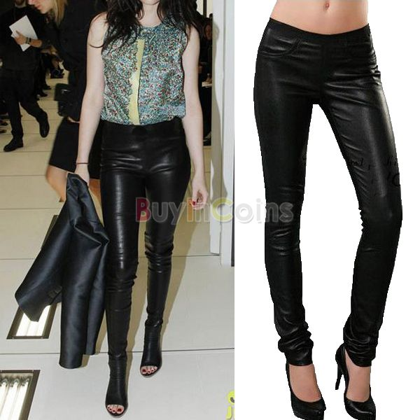 Black Womens Faux Leather Stretch Long High Waist Pants Leggings