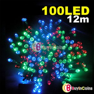 12M 100 Multicolor Colorful LED Light Solar String Lamp Festival Deco Garden