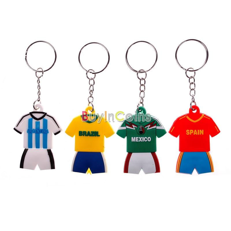 Only 1PCS Hot New Jersey Patern Country Keychain Collectord World Cup Soccer Football Team Spain Brazil Argentina Mexico
