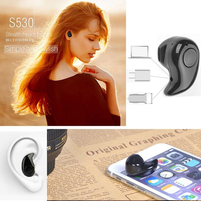 S530 Mini Wireless Bluetooth Earphone V4.0 Stereo In-Ear Earphone Headset Earpiece SC