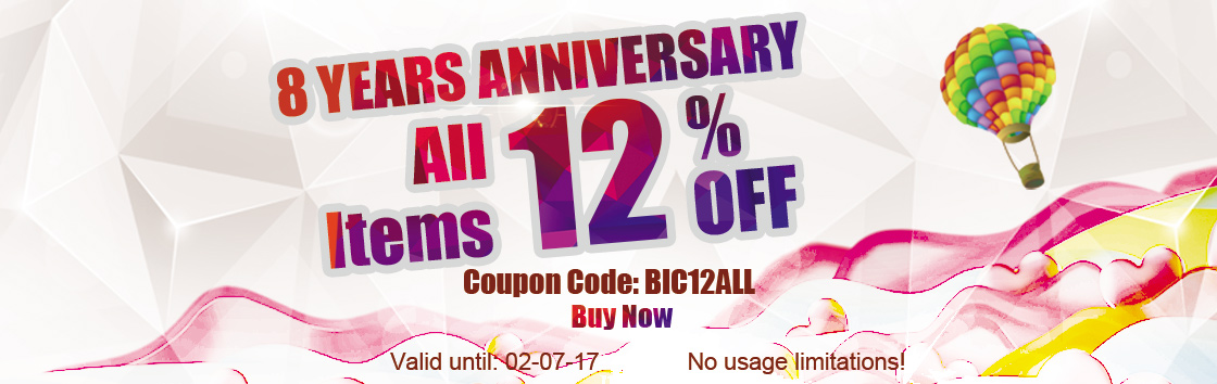 8 Years Anniversary! All Items 12% Off