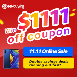 Geekbuying 11.11 Sale. Lowest price of this year & Get the chance to win $1111 off coupon