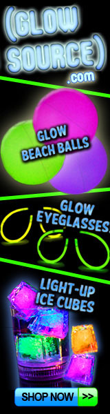 litecubes, beach balls, glow eyeglasses, balloons