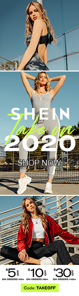 Happy New Year! Take On 2020 at us.SHEIN.com with US$5 off orders $59+, US$10 off orders $99+ or US$30 off orders $189+. Use Code TAKEOFF. Offer Expires 01/13/2020