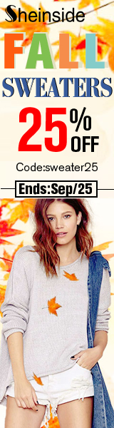 Save 25% off on Fall Sweaters at SheInside.com!  Enter code SWEATER25 at checkout through 9/25