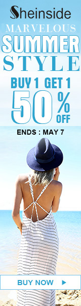 Get marvelous summer style with buy one, get one 50% off at Sheinside.com! Ends 5/7