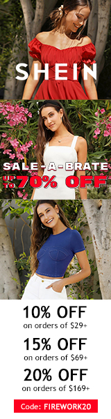 Sale-a-Brate at us.SHEIN.com. Take up to 20% off orders with Code FIREWORK20.Ends 07/05/2020