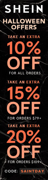 Halloween Offer - Save an additional 20% off all orders over $109 with code SAINTDAY at us.SheIn.com - Offer ends 11/5