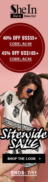 Enjoy 45% off orders $105+ with Coupon Code AC45 at SheIn.com! Ends 7/11